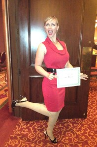 Me with my certificate after the annoucncement. I still can't believe I danced in those shoes.