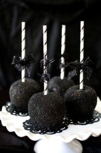 Black-as-Night Caramel Apples by Chef Louise Mellor