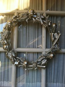 A wreath made of Dollar Store skeletons but no source to be found.